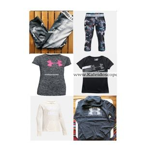6pc Under Armour Girl Size Small Capri & Hoodie